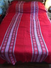 Vintage Scandinavian Country Cotton Woven Holiday LG Tablecloth Red Green 84x104