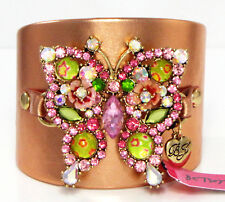 Betsey Johnson Jeweled Butterfly Cuff Bracelet Rose Gold Leather NWT