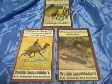 """3 x Antik Romanheft  """" Deutsche Jugendbücherei """" , Simplizissimus , Sven Hedin"""
