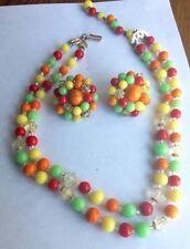Retro Fruit Orange Lime Lemon Cherry NECKLACE Matching Earrings Glass Beads