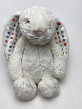 "Jellycat London Medium Bashful Bunny Ivory white polka dot ears baby plush 12"""