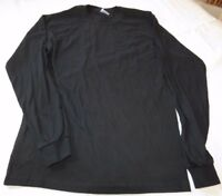 Gildan Heavy Cotton adult S small mens long sleeve t shirt black casual NOS