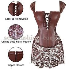 Fancy Burlesque Corset Dress Lace Up Overbust Red Black Plus Size Shaper Outfit