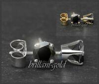 Ohrstecker 585 Gold Saphir schwarz 3,4,5,6 mm, Weißgold/Gelbgold, Rund, Neu
