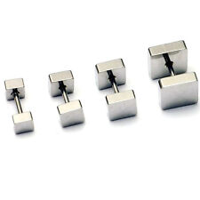 1pair 4 5 6 8mm Square titanium steel New Punk Barbell Men Gothic stud earrings
