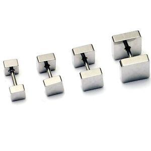1pair 4 5 6 8mm Square titanium steel New Punk Barbell Men Gothic stud earrings