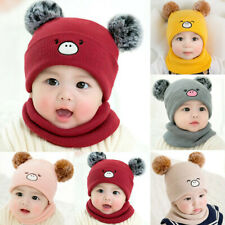 Toddler Baby Boys Girls Knitted Pom Beanie Hat Scarf Sets Kid Warm Winter Cap
