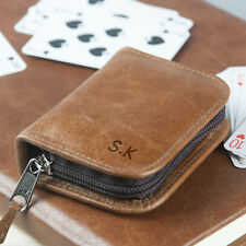 Personalised Leather Playing Card Case, Engraved tan leather case OHSO854 -41F1