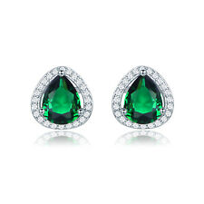 Fashion Emerald CZ White Gold Filled Women Pear Stud Earring Valentine's Present