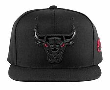 Mitchell & Ness Chicago Bulls Snapback Hat All Black/Red Eye/Patent Leather Logo