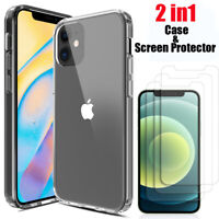 For iPhone 12/Pro/Max/12 mini Case Clear Slim Cover With Glass Screen Protector