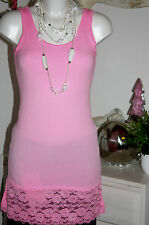 Superbugs Long-Shirt Top ohne Arm Basic Spitzenborte Pink/Schlamm/Grau S-M  Neu