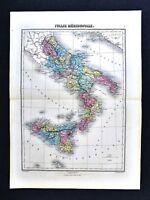 1877 Migeon Map - South Italy Naples Sicily Palermo Capri Vesuvius Etna Syracuse