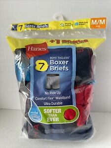 Hanes Boys 7 Pack of Tagless Breathable Wicking Boxer Briefs Size Medium 10/12
