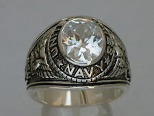 Navy United Stated Military 925 Sterling Silver April Clear Men's Ring Size 10