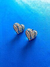 Cute Heart Earrings Ear Studs Silver Diamond Crystal Rhinestones