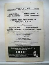 JACQUES BREL IS ALIVE AND WELL Playbill JOE MASIELL / HENRIETTA VALOR NYC 1960s