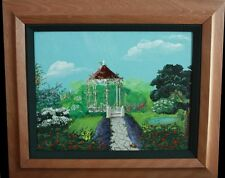 Rolls Estate Original Signed Gazeebo Painting Hawaii Art Flower garden Maui love