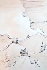 1987 Impressionist ink drawing landscape signed