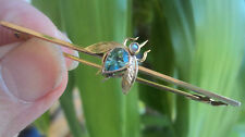 Vintage 9ct Gold , Aquamarine & Pearl Fly Insect Bar Brooch h/m 1921 Chester