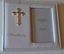 Christening Photo Frame White Leatherette & Raised Silver coloured Cross