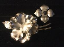 Two Brushed  Silvertone Flower Pins