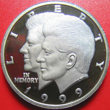 1999 LIBERIA $10 PROOF 1/2 OZ .999 SILVER JOHN KENNEDY JOHN JR. SUPERB TONING RR