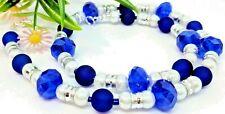 Halskette blau dunkelblau royalblau weiß silber Glitzer Glas Perlen matt 45-50cm