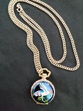 Pendant Pocket Watch With Chain 1970s' Vintage Lady Byron Painted