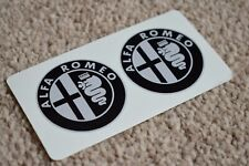ALFA ROMEO Style Car Road Race Round Helmet Decals Stickers Black Grey 50mm