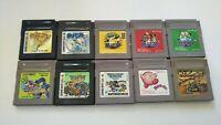 10 LOT Nintendo Gameboy Games Pokemon Gold Silver Dragon Quest Kirby Bomberman