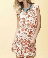 Leifnotes Size M Scattered Stellata Dress Orange Drop Waist Anthropologie