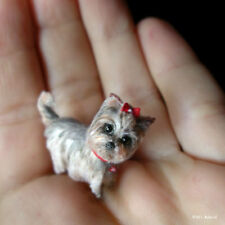 OOAK posable Yorkie handmade dollhouse miniature dog sculpture animal 1:12th pet