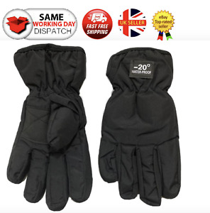 KIDS BLACK SKI GLOVES BOYS GIRLS WINTER WATERPROOF AND THERMAL GLOVES WARM MITTS