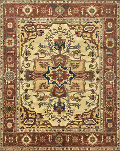 Tribal Heriz Serapi Rug, 8'x10', Ivory/Copper, Hand-Knotted Wool Pile