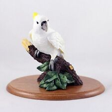 COCKATOO Parrot Figurine / Statue ~ Hand Painted Cast Stone Resin~ Hardwood Base