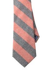 "NEW Men's Necktie Cotton-Linen Chambray Striped Orange Gray Tie 3-1/8"" W"