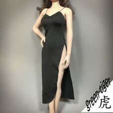 1:6 Scale ace Female figure parts A811BLK - Black Sexy Long Tail Gown