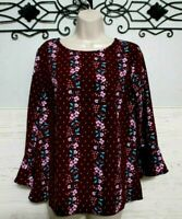 Old Navy Top Size M 3/4 Sleeve Burgundy  Floral Round Neck Blouse