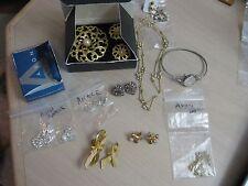 Estate Costume 13 Piece Avon Designer Lot Chain Necklace Earrings Pins