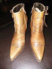 ffe880bd38ff MIU MIU Almond Brown Leather Ankle Boots