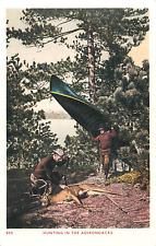 ADIRONDACK MOUNTAINS NYS MEN DEER HUNTING W/CANOE POSTCARD