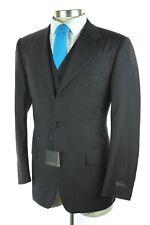 NWT $1695 CORNELIANI Charcoal Stripe Extrafine Wool 3 Piece Suit + Vest 48 38 R