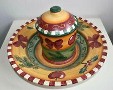 Große Weihnachtsschale und Gebäckdose aus Keramik Villeroy & Boch Gallo Design