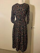 Vintage Retro 90s Black Floral Rose Print Midi Dress With Matching Belt, Size M