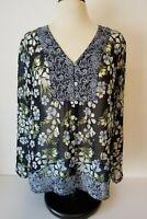 J Jill Tunic Blue Black Floral Semi Sheer Size L Large Long Sleeve Blouse EUC