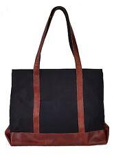 Genuine Leather Canvas Tote Bag Black