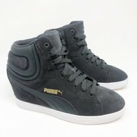 Puma Womens Vikky Wedge Sneakers Shoe Gray 35724610 Lace Up High Top 7 M