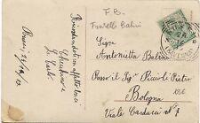 P7713   ravenna, Russi, ann. tondo riquadrato su c.5 leoni perfin F.B., 1913