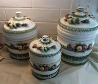 Alfro London Capidomonte Style Handmade Canister Fruit Embossed Set 3 Vintage